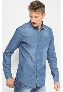 Camisa Jeans Broken Rules Bolso Masculina - Masculino