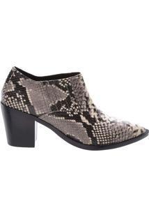 Ankle Boot Em Couro Texturizado - Taupe & Pretaarezzo & Co.