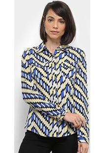 Camisa Extin Manga Longa Estampa Geométrica Feminina - Feminino-Azul