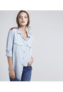 Camisa Jeans Com Bolsos - Azul Claropop Up