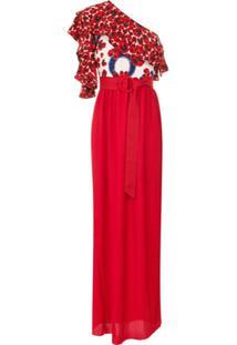 Isolda Vestido 'Abalonê' De Seda Um Ombro Só - Vermelho