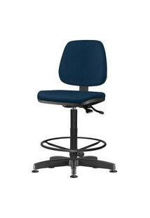 Cadeira Job Assento Courino Azul Base Caixa Metalica Preta - 54542 Azul