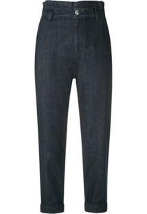 Andrea Bogosian Calça Jeans Cropped Rolver - Azul
