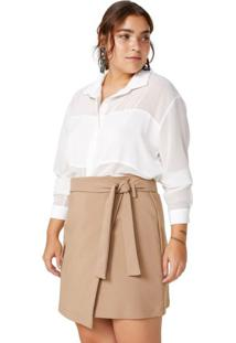 Amaro Feminino Camisa Tranparência Recorte Acetinado, Off-White