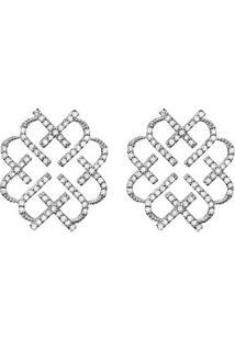 Brinco Em Ouro Branco 18K Com Diamante - Love