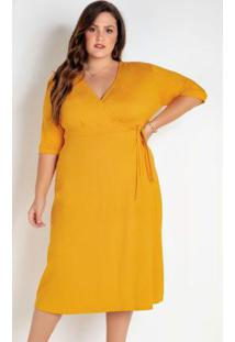 Vestido Midi Plus Size Amarelo Com Transpasse