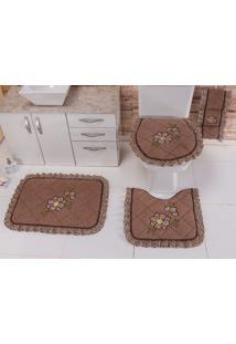 Jogo De Banheiro Heloisa Confecções Atoalhado Bordado Com Babado Elegance 03 Peças Marrom Floral