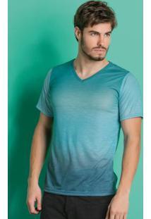 Camiseta Decote V Verde E Azul