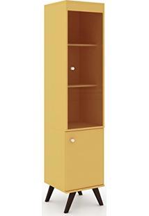 Cristaleira 1 Porta De Bater 1 Porta De Vídro E 3 Prateleiras Amarelo - Movelbento