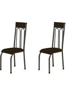 Kit 2 Cadeiras Anatômicas 0.120 Estofada Craqueado/Marrom Escuro - Mar