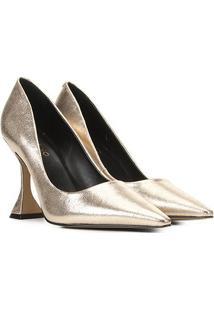 Scarpin Couro Carrano Salto Flare Alto Metalizado - Feminino-Dourado