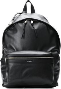 Saint Laurent Leather Look Logo Backpack - Preto