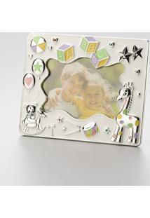 Porta Retrato Infantil Prateado Abc 13 X 18 Cm 30108