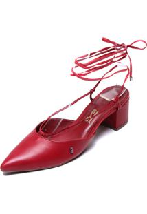 Scarpin Couro Santa Lolla Liso Vermelho - Vermelho - Feminino - Dafiti