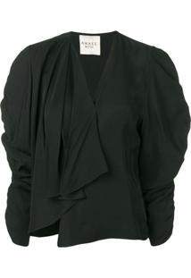 A.W.A.K.E. Mode Blusa Com Franzido - Preto