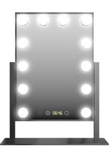 Espelho De Mesa Profissional Hollywood Dc117 Led Bulbo E Relógio Preto Gbmax