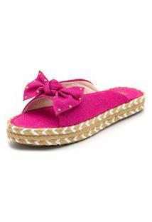 Sandália Rasteira Aberta Flat Em Linho Rosa Pink Com Detalhes Sisal