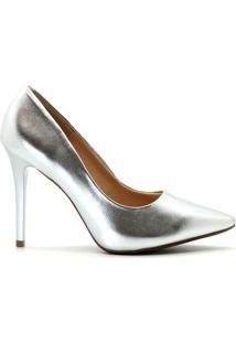 Scarpin Royalz Metalizado Feminino - Feminino-Prata