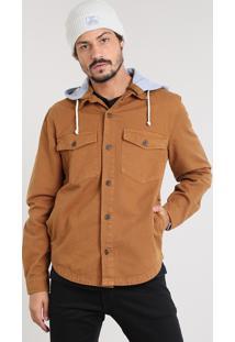 Camisa De Sarja Masculina Com Capuz Removível Em Moletom Caramelo