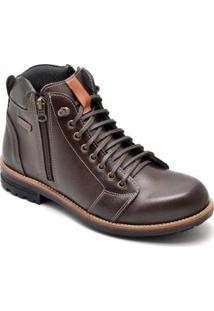 Bota D&R Shoes Couro Masculino - Masculino-Café