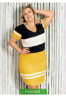 Vestido Plus Size Curto Com Decote V Amarelo