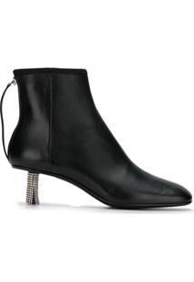 Calvin Klein 205W39Nyc Ankle Boot De Couro - Preto