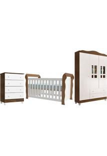 Dormitório Lara Guarda Roupa 3 Portas/Cômoda 4 Gavetas/Berço Lara Branco/Amadeirado Carolina Baby - Tricae