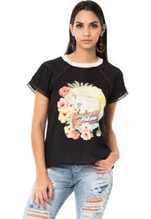T-Shirt Moikana Estampada Com Detalhe Preto