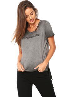 Camiseta Calvin Klein Jeans Destroyed Cinza