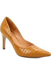 Scarpin Couro Shoestock Salto Alto Graciela Croco - Feminino-Amarelo