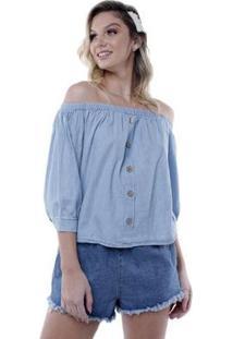 Blusa Ombro A Ombro Jeans Pop Me Feminina - Feminino-Azul