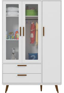 Roupeiro 3 Portas Glass Retrô Branco-Acetinado E Eco Wood Matic Móveis