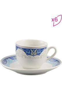 Jogo De Xícara Para Café Perca- Branca & Azul- 6Pçs