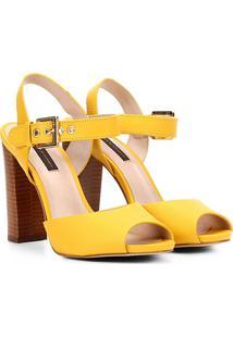 Sandália Jorge Bischoff Salto Grosso Feminina - Feminino-Amarelo