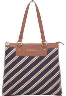 Bolsa Smart Bag Couro Tiracolo Listras - Feminino-Caramelo