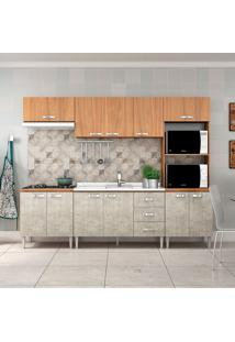 Cozinha Compacta Master Sem Tampo Cm03 Nogal/Concreto - Fellicci