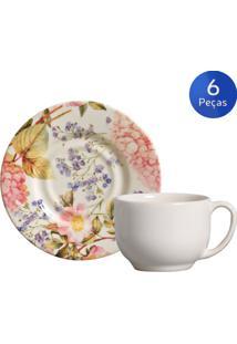 Conjunto 6 Xícaras De Chá Com Pires Hortênsia - Porto Brasil - Multicolorido