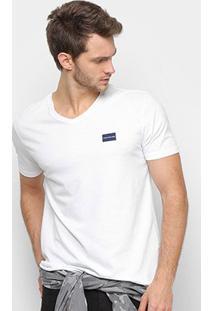 Camiseta Calvin Klein Gola V Masculina - Masculino-Branco