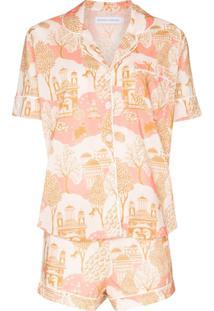Desmond & Dempsey Pijama Com Estampa Pahari - Branco