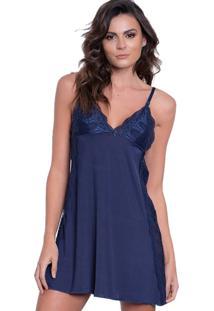 Camisola Click Chique Alã§A Lateral Rendada Azul - Azul - Feminino - Dafiti