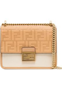 Fendi Neutral Kan U Leather Panelled Shoulder Bag - Neutro