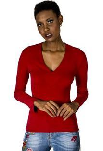 Blusa Decote V Alphorria Feminina - Feminino-Vermelho