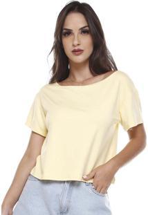Blusa Moletinho Decote Canoa Amarela