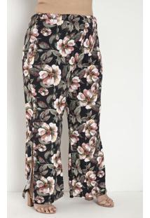 Calça Floral Com Fendas Laterais Plus Size