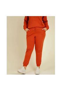 Calça Plus Size Feminina Jogger Moletinho Bolsos