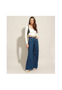 Calça Wide Pantalona Jeans Cintura Alta Azul Escuro