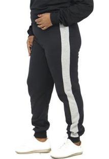 Calça Dpontes Moletom Faixa Lateral Plus Size Inverno Feminina - Unissex-Preto