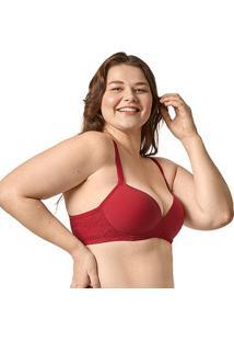 Sutiã Bonjour Plus Size Com Bojo Renda Lateral - Feminino-Vermelho