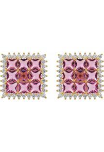 Brinco Narcizza Semijoias Quadrado Com Zircônia Cristal Rosa Ouro