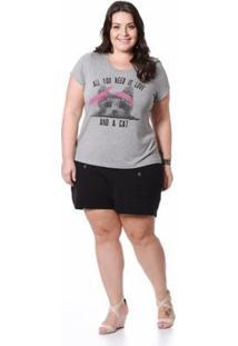 Blusa Plus Size Viscolycra Miss Masy - Feminino-Cinza